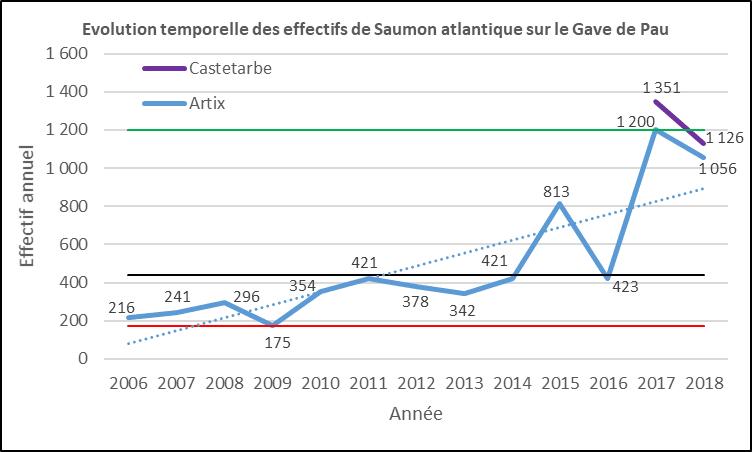 Evolution saumons atlantique Castetarbe ou Artix