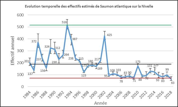 Evolution saumons atlantique Nivelle